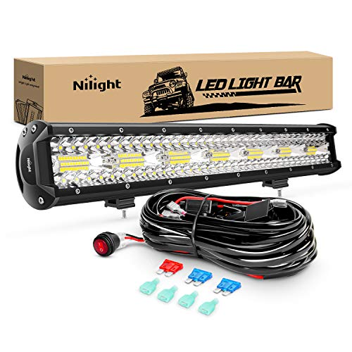 Nilight ZH409 20Inch 420W Triple Row Flood Spot Combo 42000LM LED Light Bar with Heavy Duty Off-Road Wiring Harness, 2 Years Warranty