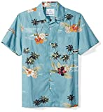 28 Palms Men's Standard-Fit 100% Cotton Tropical Hawaiian Shirt, Dark Aqua Scenic, Medium