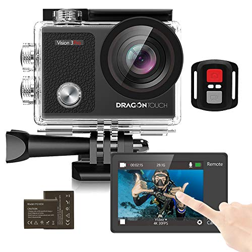 Dragon Touch Action Cam 4K con lo schermo di tocco,16MP subacquea fotocamera IPS da 2 pollici impermeabile, 2 batterie ricaricabili e accessori Kit di montaggio(Vision 3 Pro)