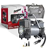 Energizer Air Compressor Portable Tire Inflator, 12V DC Air Pump for Car Tires with Digital Tire Pressure Gauge, 120 Max PSI, Preset Pressure Feature, LED, Digital Display - Includes Storage Bag