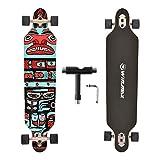 WIN.MAX Longboard Skateboard Cruiser 7 couches en bois d'érable avec roulements ABEC-11 et outil T (Haida)