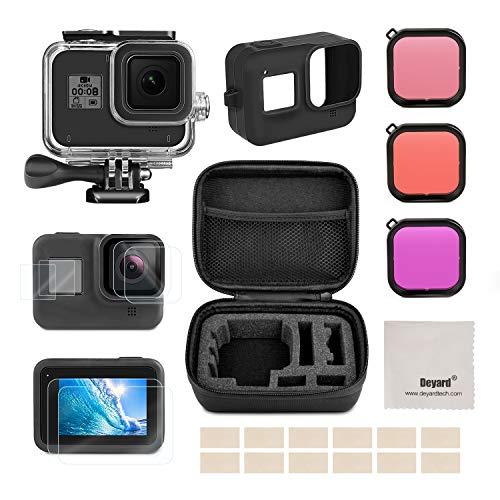 Deyard Kit di accessori per GoPro Hero 8 Black con custodia antiurto + custodia impermeabile + protezione per schermo in vetro temperato + cover in silicone per GoPro Hero 8 nero