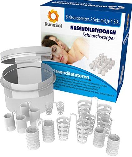 Nasendilatatoren 8x Nasenspreizer Anti-Schnarchmittel Schnarchstopper 8-er Pack Verschiedene Größen | Dilator hilft gegen Schnarchen, Schlafapnoe & Nasenstauung | Inkl. Aufbewahrungsbox