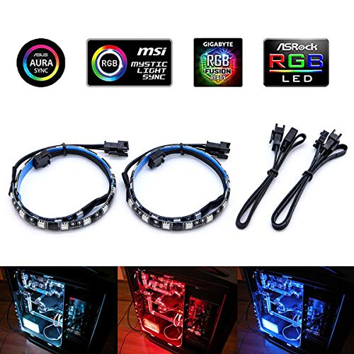 ATTAV RGB Magnetic LED Light Strip Full Kit PC Computer Case, Fixed Powerful Magnet, Multi Function Remote Control, Color Changing