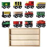 E-More Train en Bois | Circuit Train Bois | Jouet Enfant | Jouet Éducatif | Jouet en Bois | Coffret de Jouets en Forme de Voitures en Bois pour Les Enfants de 3 Ans et Plus | Cadeau Enfant
