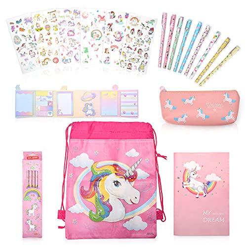 Regalo Unicorno 6 7 8 9 Anni Femmina, Cancelleria Kawaii Bambina Cartoleria Astuccio Unicorno Set Assortito per Bimbe,Rosa