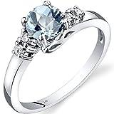 14K White Gold Aquamarine Diamond 5 Stone Ring 0.75 Carats Size 6
