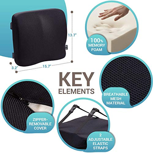 Product Image 2: Back Support for Office Chair - Memory Foam Lumbar Pillow - Perfect Cushion for Car, Computer and Desk Seat