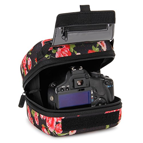 USA GEAR Hard Shell DSLR Camera Case (Floral) with Molded EVA Protection, Quick Access Opening, Padded Interior and Rubber Coated Handle-Compatible with Nikon, Canon, Pentax, Olympus and More