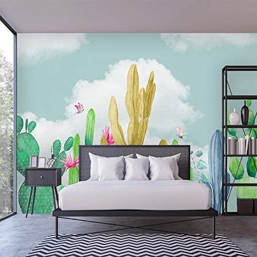 Amazon Com Wall Murals Wallpaper Custom Photo Wallpaper Hand Painted Cactus Butterfly Cartoon Wall Painting Kids Room Bedroom Decoration Mural 3d 200x140cm Arts Crafts Sewing