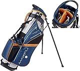 Maxfli 2019 Sunday Golf Automatic Stand Bag 3-Way Top 6 Pockets Dual Carry Straps (Gray/Blue/Orange)
