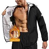 Junlan Sauna Suit for Men Sweat Jacket Sauna Pants Gym Workout Sweat Suits for Mens (Black Tops Only, X-Large)