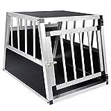 EUGAD Trasportino per Animali Cuccia per Cane da Esterno Box da Cani per Auto in Alluminio Trapezoidale Nero 0054HT
