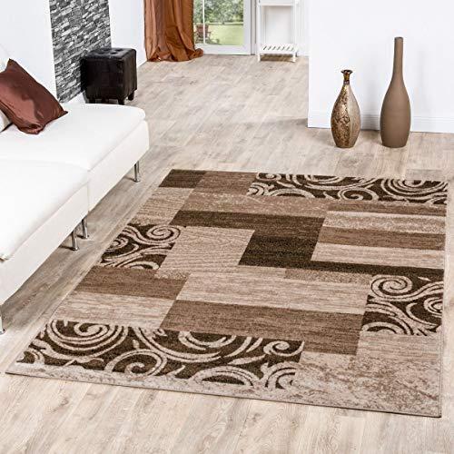 Tappeto Conveniente Design Patchwork Tappeto Moderno Per Soggiorno Beige Crema, Größe:80x150 cm