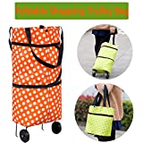 Aquarius CiCi Foldable Shopping Trolley Bag on Wheels Collapsible Trolley Bags Folding Reusable Grocery Tote Bags for Women Travel Home Kitchen Supermarket