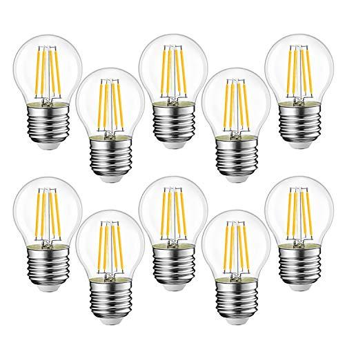 EXTRASTAR Filamento LED E27, 4W Equivalenti a 40W, 400Lm, 3000K Luce Calda,G45 Stile Vintage, Non Dimmerabile, Confezione da 10 Pezzi [Classe di efficienza energetica A++ ]