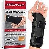 Carpal Tunnel Wrist Brace, Night Sleep Wrist Support, Removable Metal Wrist Splint, Hand Brace for Men, Women, Wrist Tendonitis, Sports Injuries Pain Relief - Left