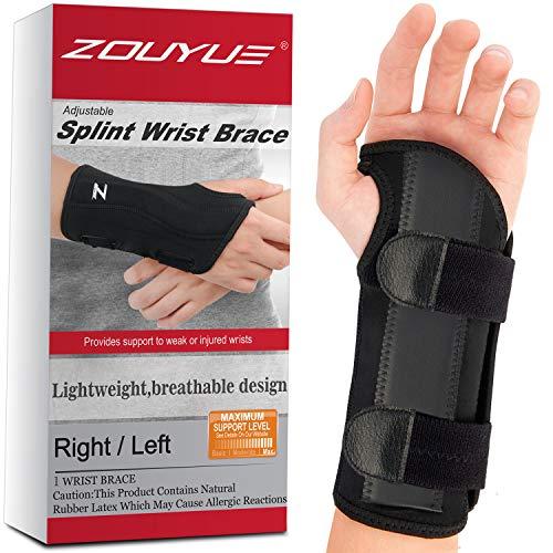 Carpal Tunnel Wrist Brace, Night Sleep Wrist Support, Removable Metal Wrist Splint for Men, Women, Right Hand, Tendinitis, Bowling, Sports Injuries Pain Relief - S/M
