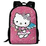 Mei-shop Mochila Informal Angel Hello-Kitty Imprimir Cremallera Mochila Escolar Mochila de Viaje Mochila-7T
