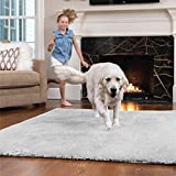 Gorilla Grip Original Faux-Chinchilla Area Rug, 5x7 FT, Many Colors, Soft Cozy Pile Washable Kids Carpet, Rugs for Floor, Luxury Shaggy Carpets for Home, Nursery, Bed and Living Room, Light Gray