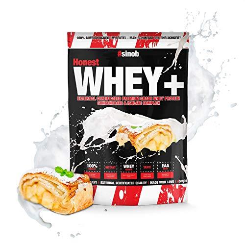 sinob Honest Whey Protein - Apfelstrudel - 1 x 1000 g. 12,5% Isolate Anteil. Instant lösliches Eiweißpulver mit BCAA & EAA 'Hergestellt in Deutschland'