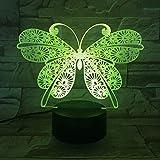 Mariposa creativa Interruptor táctil de luz de visión 3D Lámpara de mesa LED multicolor Luz de noche USB Decoración del hogar Decoración de la habitación de los niños Regalo