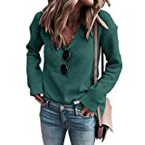 KCatsy Sweat Femme Pull Pull Top Plain Tricot Col V Base Chemisier Doux Tricots(Vert,2XL(FR 40/42))