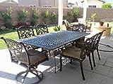 Theworldofpatio Mandalay Cast Aluminum Powder Coated 7pc Outdoor Patio Dining Set with 44'x84' Rectangle Table - Antique Bronze