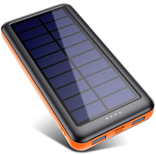 Pxwaxpy Batterie Externe Chargeur Solaire 26800mAh,【3 Entrées & 2 Sorties】 Grande Capacité...