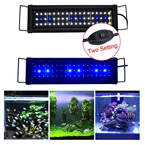 KZKR Aquarium Hood Lighting Fish Tank Light, Blue and White Light 16-24 inch (42-60 cm)
