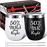 2 Pack 50th Anniversary Couple Cups Present, 50 Years of Being MR/MRS Always Right, Funny Wedding Anniversary Present for Grandparents, 12 oz Wine Tumbler for Celebrating Golden 50th Anniversary