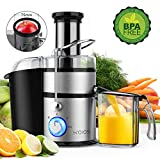 KOIOS Centrifugal Juicer Machines, Juice Extractor with Big Mouth 3 Feed Chute, 304 Stainless-steel Filter, High Juice yield, Easy to Clean&100% BPA-Free, 1200W&Powerful, Dishwasher Safe, Included Brush
