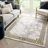 Well Woven Fairmont Huntington Retro Marble Border Ivory Glam 7'10' x 9'10' Area Rug