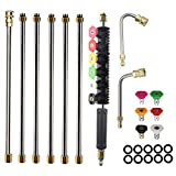 AgiiMan Pressure Washer Extension Wands - 120 Inch Power Washer Gutter Cleaning Tools, Telescoping Replacement Lance, Window Cleaner Nozzles Tips