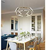 Hlidpu LED Pendant Light Modern Style, Ribbon Spiral Swirl Ceiling Light Pendant Hanging Lampe,Remote Control dimming, Adjustable Height, Acrylic, Aluminium [Energy Class A++],Silver,800mm