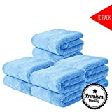 PRODUXA Professional Grade Super Absorbent Premium Microfiber Towels for Car Cleaning & Auto Detailing - Assorted Colors - Packs (400 GSM) Pack of 10