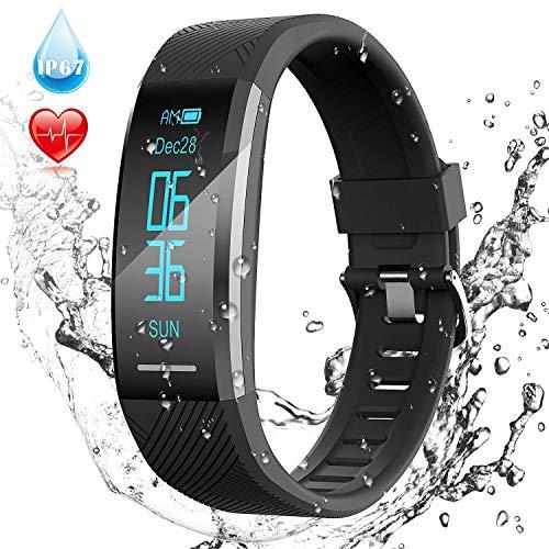AGPTEK Fitness Tracker Braccialetto Bluetooth Impermeabile con Contatore Passi, Monitor Ritmico, Calorie, Sonno ECC per Uomo Donna Bambini, Nero, Forza Italia