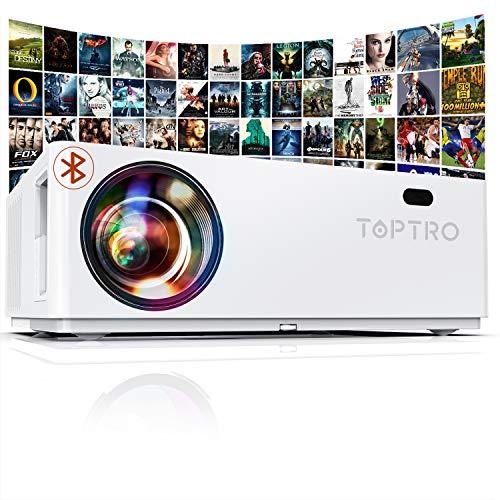 Vidéoprojecteur Bluetooth 7800 LM, TOPTRO Projecteur Full HD , Natif 1920x1080 Soutien 4K, Contraste 10000:1, Correction Digital 4D±50°, Zoom X/Y, Rétroprojecteur LED, Home Cinéma
