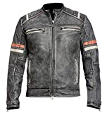 Men's Vintage Cafe Racer Retro 2 Moto Motorcycle Distressed Biker Leather Jacket (L)