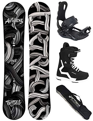 Airtracks Snowboard Set - TAVOLA Twisted Wide 150 - ATTACCHI Master - Softboots Strong 43 - SB Bag