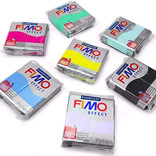FIMO Effect Polymer Oven Modelling Clay - 6 x 2 oz Blocks - Set of 6 - Pastel Finish