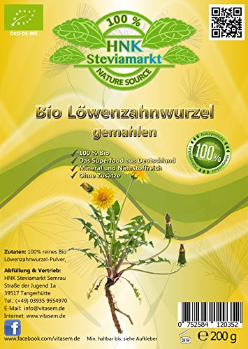 Bio Löwenzahnwurzel gemahlen 100 Prozent Rein, Natürliches Pulver - Ohne Zusätze   Superfood aus Deutschland   Hergestellt und Kontrolliert nach DE-ÖKO   200g Beutel