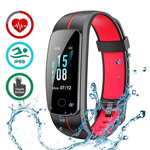 LATEC Fitness Armband mit Pulsmesser, IP68 Wasserdicht Fitness Tracker Farbbildschirm Aktivitätstracker Pulsuhren Schrittzähler Uhr Smartwatch 14 Trainingsmodi Musiksteuerung Stoppuhr SMS Nachrichten