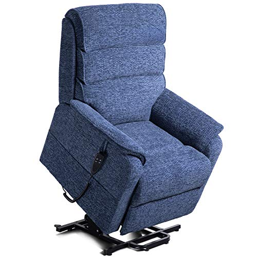 Irene House Dual Motor Power Lift Chair Lays Flat Electric Power Lift Recliner Chair for Elderly Up to 300 LBS Soft Chenille Fabric Lift Chairs Recliners with Side Pocket (Blue Chenille)