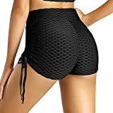Luiryare Tummy Control Workout Yoga Shorts for Women Bandage Athletic Stretch Running Home Sport Exercise Shorts Pants (Drawstring Black, L)