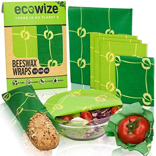 Beeswax Wrap Involucro di cera d'api - Set 1 Piccolo 3 medi 1 grande – Pellicola in cera d'api naturale uso alimentare - Carta Cerata Riutilizzabile per alimenti 100% Organico e Ecologica – Bees Wrap