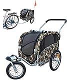 Polironeshop Argo - Rimorchio e carrello per bicicletta, per il trasporto di cani, mimetico, M
