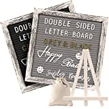 Tukuos Double Sided Felt Letter Board with Rustic Wood Frame,750 Precut Gold & White Letters,Months & Days & Script Cursive Words,Wall & Tabletop Display Decor (BlackGray 10x10 Easel)