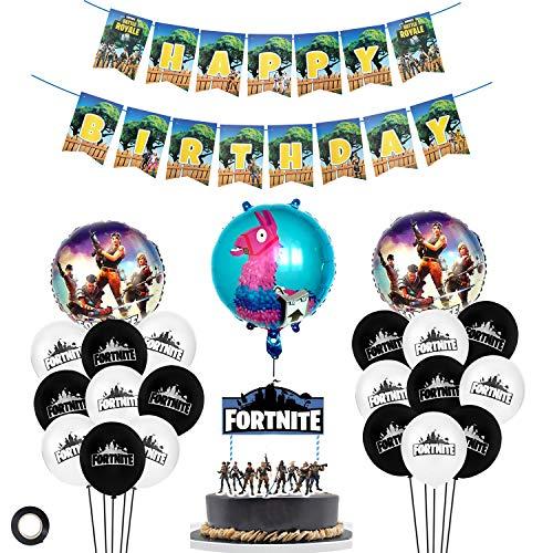 MIFIRE Artículos de Fiestas para Fanáticos de los Videojuegos con 19 globos de fiesta de látex / 1 pancarta de cumpleaños para Cumpleaños de Tema de Videojuegos Fiesta de Cumpleaños de Niños