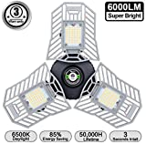 LED Garage Lights Amiluo Life Garage Light 6000 Lm Flexed LED Triple Garage Lights Ceiling Deformable for Garage Adjustable Panels Tribright Garage Lighting Garage Light Bulb for Basement Workshops